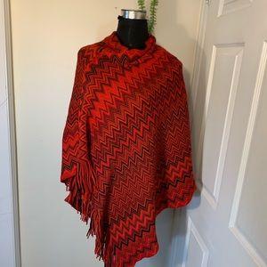 Vintage Aztec Pattern Knit Poncho
